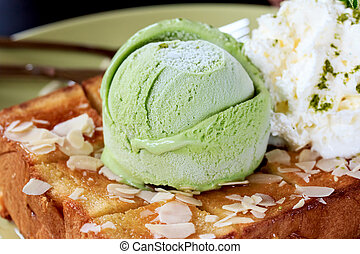 Honey Santos with green tea icecream in green plate