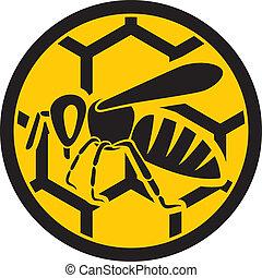 (honey, sign), pszczoła, ikona
