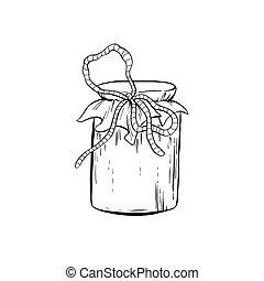 Honey Sketch Glass Jar with Canned Food Isolated Vector Illustration for Logo Design or Poster