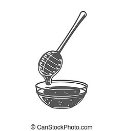 Honey spoon isolated on white background