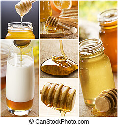 honey - beautiful honey collage made from six photographs