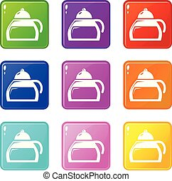 Honey tea icons set 9 color collection