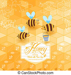 Honey template background. Vintage frame with Honey, bee, honey spoon, set template with label and yellow geometric pattern of honeycomb. Honeycomb, frame label and the funny bees.