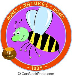 honey., vecteur, dessin animé, illustration, abeille
