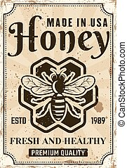 Honey vector advertising poster in vintage style