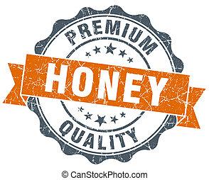 honey vintage orange seal isolated on white