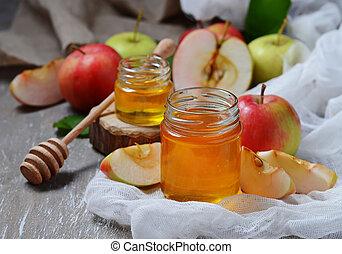 Honey with apple for Rosh Hashana, jewish New Year