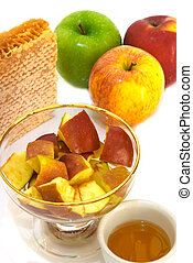 Honey with apples - Different varieties of apple, honey and...