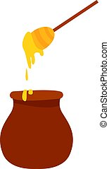 Honey with spoon, illustration, vector on white background.