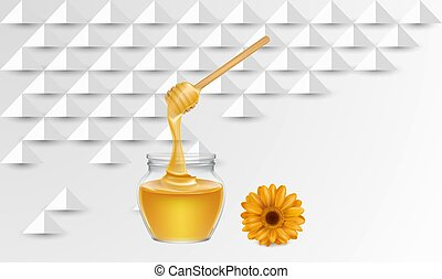 honey with sunflower extracts on paper cut background