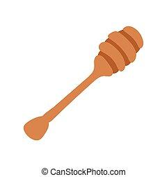 honey wooden spoon isolated icon