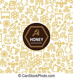 Honey wrapping vector background with bees and honeycombs symbols.