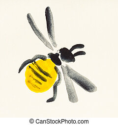honeybee painted on cream colored paper - training drawing...