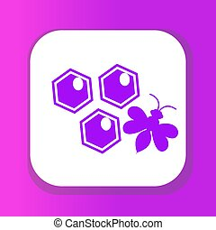 Honeycomb and bee icon, flat style. Isolated on white background. Vector illustration, clip-art