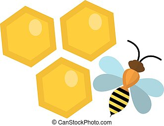 Honeycomb and bee icon, flat style. Isolated on white...