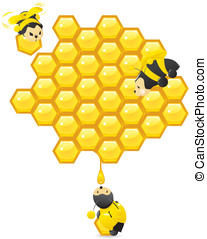Honeycomb and cute working bees