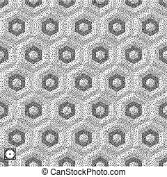 Honeycomb background. 3D mosaic. Black and white grainy...