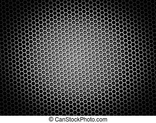Black and white honeycomb background 3d illustration or backdrop with light effect