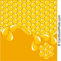 honeycomb background with drops - vector illustration of a...