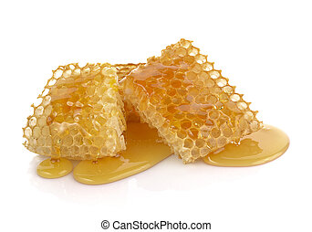Honeycomb close up on a white background