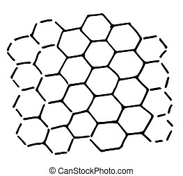 Honeycomb hand-Drawn sketch vector illustration in the style of a simple Doodle. a simple drawing of a honeycomb a diagram of geometric hexagons whole and with open corners
