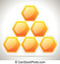 Eps 10 vector illustration of Honeycomb, honey cell illustration / icon isolated. Organic sweetener, natural food, nutrition, healthy ingredients, beekeeping, natural structure concepts.