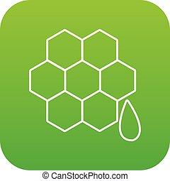 Honeycomb icon green vector