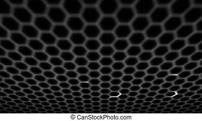 Honeycomb pattern with lighting effect over the dark...