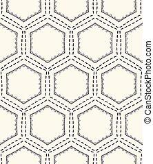 Honeycomb running stitch embroidery pattern. Victorian hexagon needlework seamless vector background. Hand drawn geometric textile print. Ecru cream handicraft home decor. Monochrome sashiko style.
