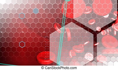 Honeycomb shapes on red background