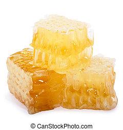 Honeycomb slices isolated on white background