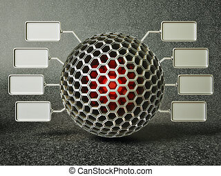honeycomb sphere with a many small advertising boards.