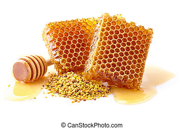 Honeycomb with flowers pollen