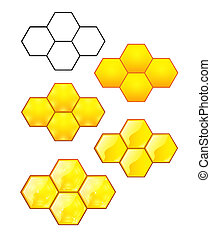 Honeycomb with honey on a white bac