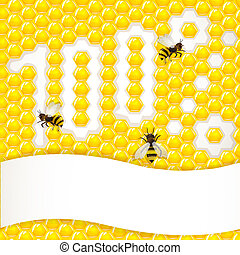 Honeycombs background with bee