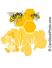 Two bees, honeycombs, honey and floral background are decorative composition