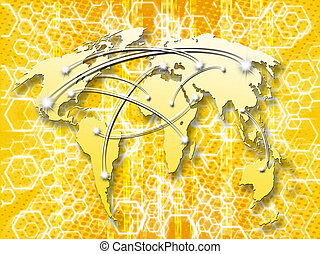 honeycombs yellow abstract background with interconnected world map