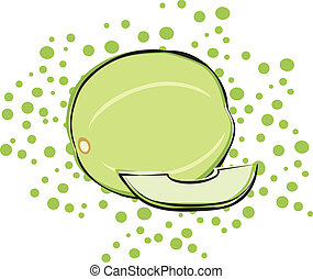 A honeydew melon on a polka dot background. Background is on a separate layer and can be turned off.