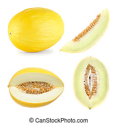 Honeydew melon cut in 4 different shapes - Set of 4 studio...