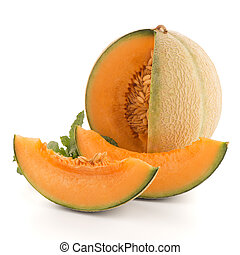 Juicy honeydew melon on a white background.