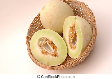 honeydew melons - melons in a basket