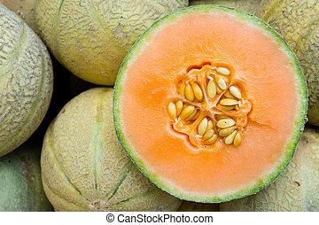 Honeydew melons seen on a weekly fruit market