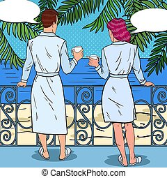 honeymoon., arte, pareja, hotel., café, ilustración, tropical, vector, taponazo, bebida, feliz, playa, balcón