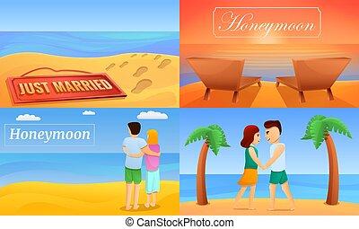 Honeymoon banner set, cartoon style