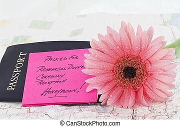 Honeymoon Bon Voyage - Selective focus on feminine, pink...