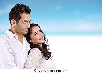 Honeymoon - Closeup portrait of beautiful woman with...