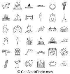 Honeymoon icons set, outline style - Honeymoon icons set....