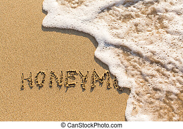 Honeymoon - inscription by hand