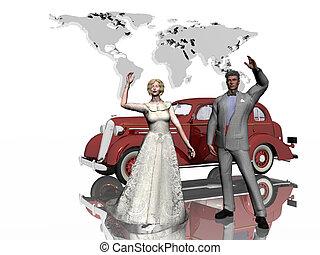 Honeymoon, just married.