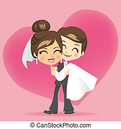 Honeymoon Love - Groom carrying bride holding her in his...
